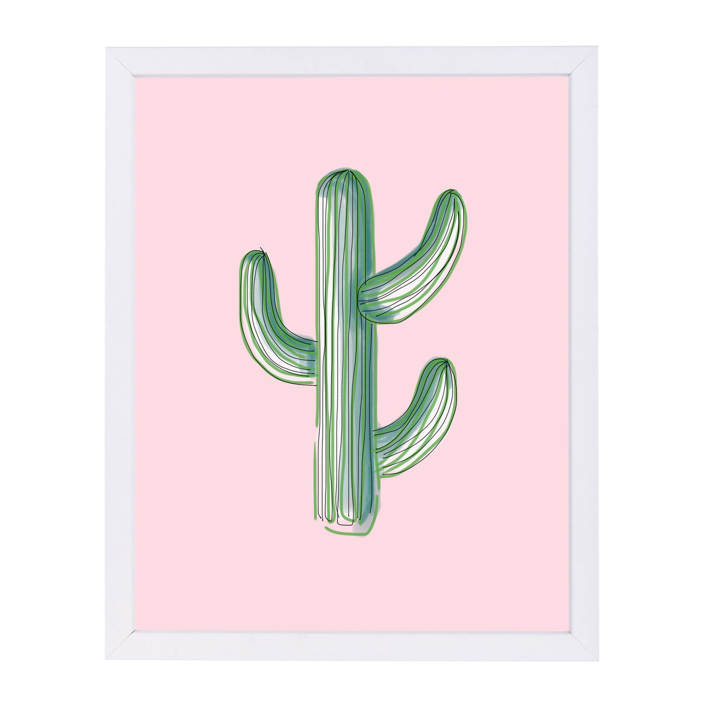 Lonely Cactus On Pink by Emanuela Carratoni Framed Print - Americanflat