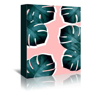 Monstera Leaves On Pink by Emanuela Carratoni Wrapped Canvas