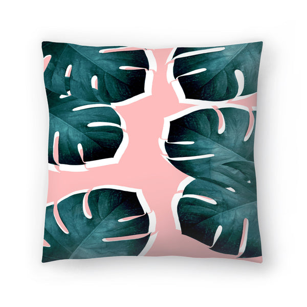 Monstera Leaves On Pink by Emanuela Carratoni Decorative Pillow