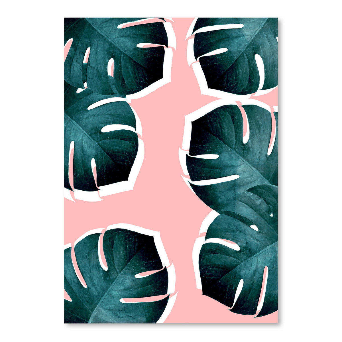 Monstera Leaves On Pink by Emanuela Carratoni Art Print - Art Print - Americanflat