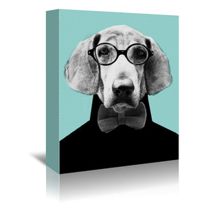 Mr. Italian Bloodhound The Hipster by Emanuela Carratoni Wrapped Canvas