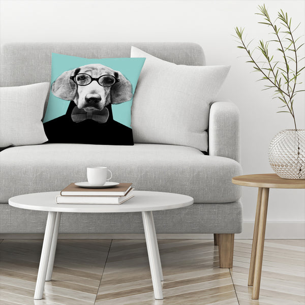 Mr Italian Bloodhound The Hipster by Emanuela Carratoni Decorative Pillow