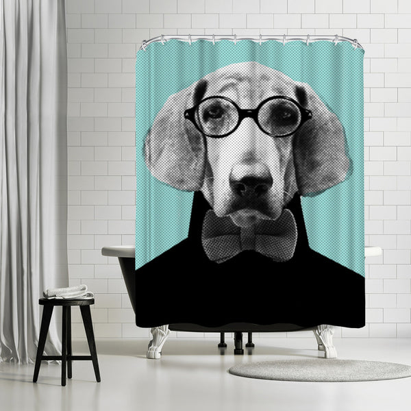 Mr Italian Bloodhound The Hipster by Emanuela Carratoni Shower Curtain