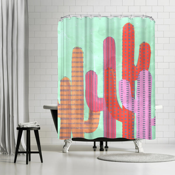 Painted Cactus Ii by Emanuela Carratoni Shower Curtain