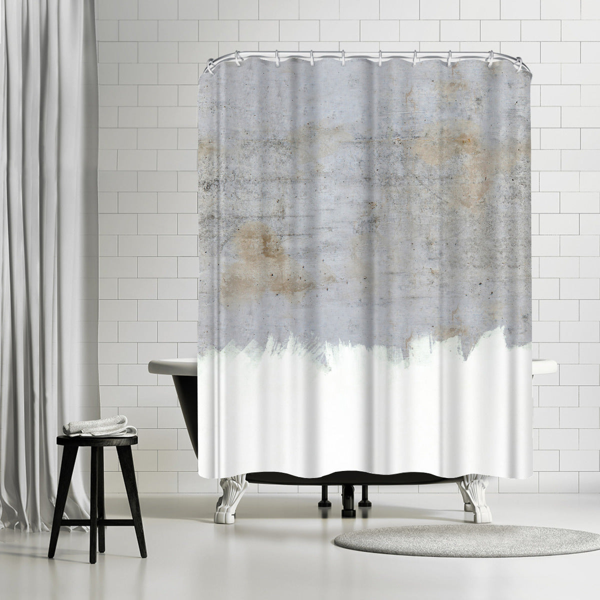 Painting On Raw Concrete by Emanuela Carratoni Shower Curtain - Shower Curtain - Americanflat