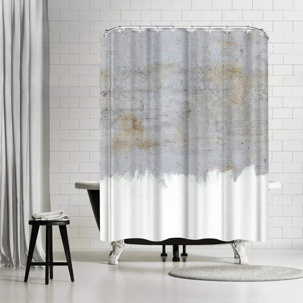 Painting On Raw Concrete by Emanuela Carratoni Shower Curtain