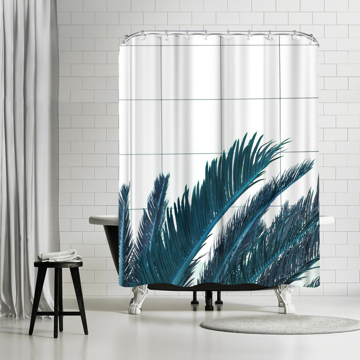 Palms On Geometry by Emanuela Carratoni Shower Curtain -  - Americanflat