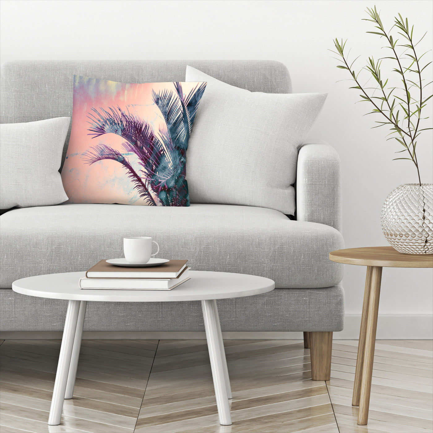 Pastel Palms by Emanuela Carratoni Decorative Pillow