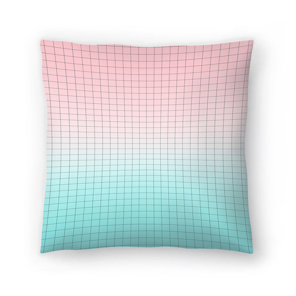 Pink And Light Blue Geometry by Emanuela Carratoni Decorative Pillow