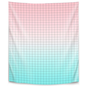 Pink And Light Blue Geometry by Emanuela Carratoni Tapestry