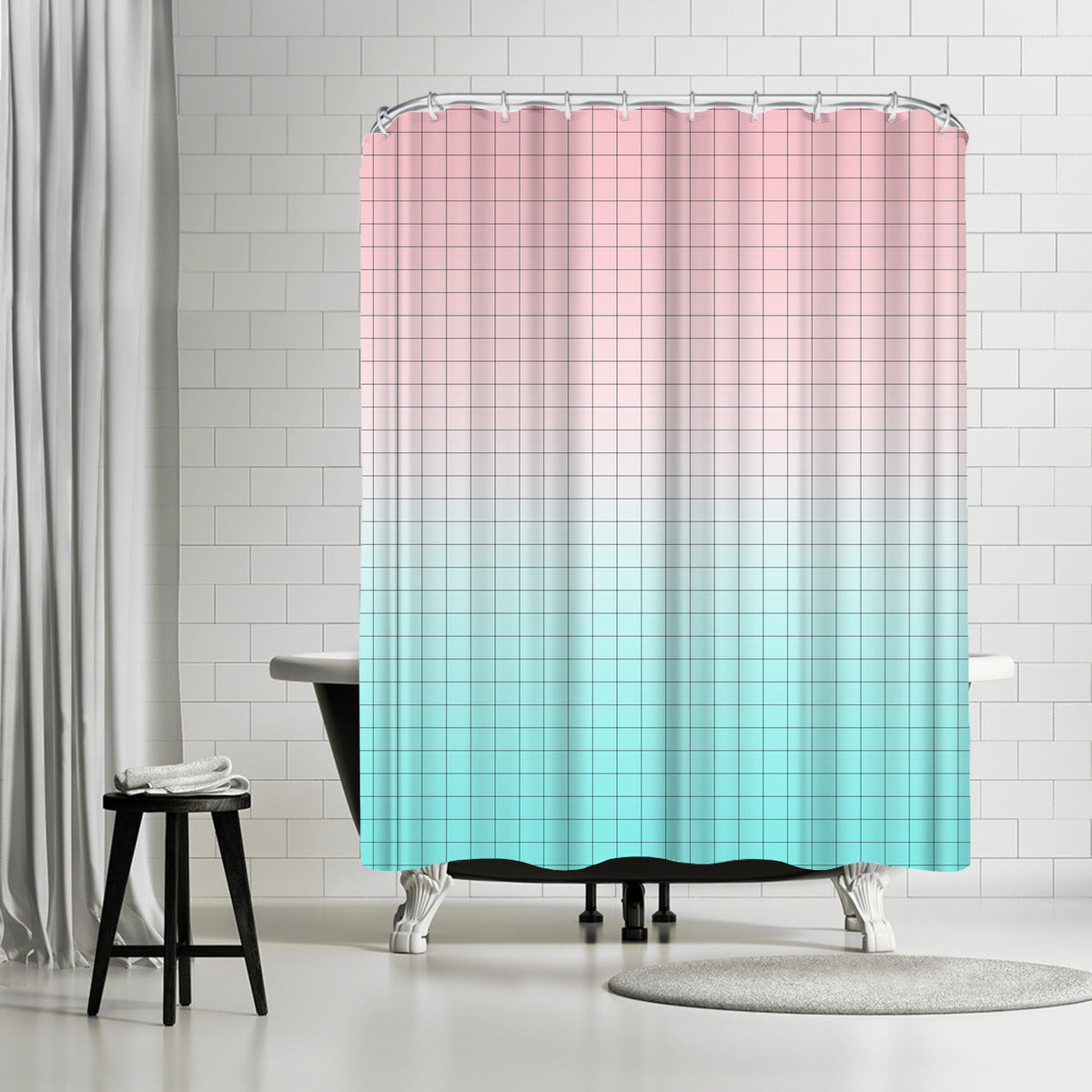 Pink And Light Blue Geometry by Emanuela Carratoni Shower Curtain - Shower Curtain - Americanflat