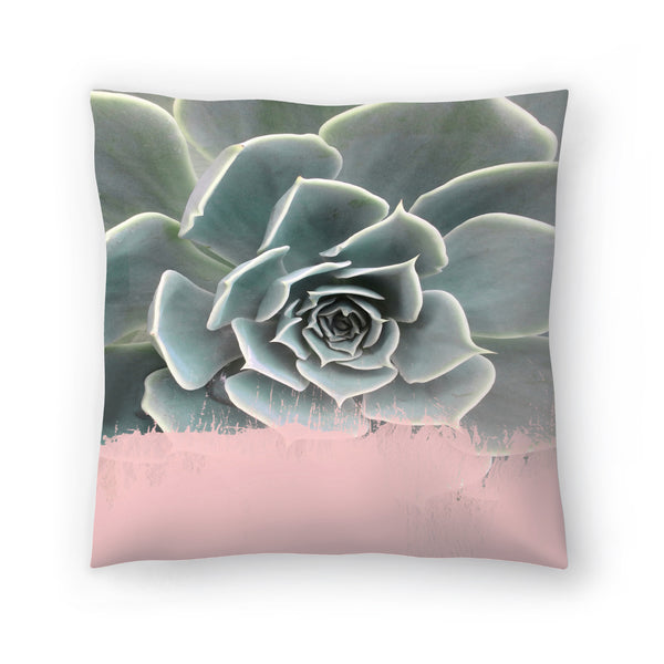 Pink On Succulent by Emanuela Carratoni Decorative Pillow