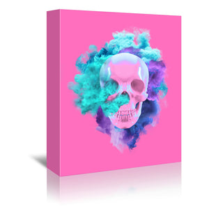 Pink Skull by Emanuela Carratoni Wrapped Canvas