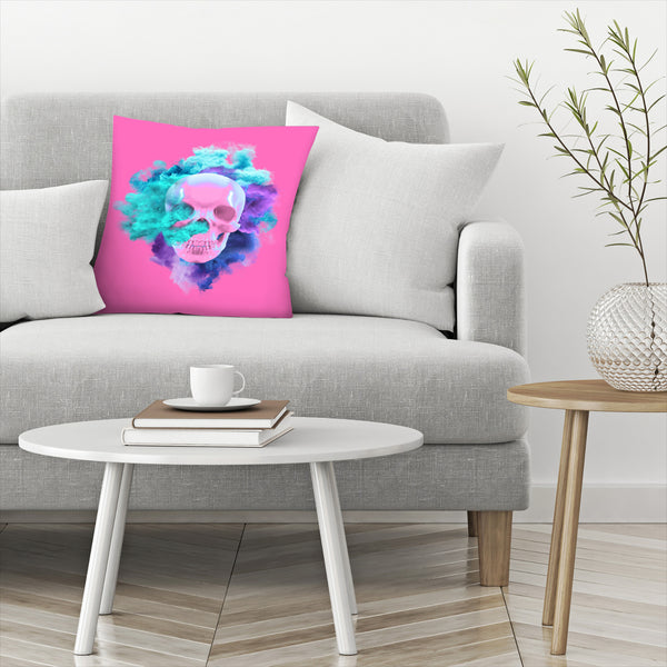 Pink Skull by Emanuela Carratoni Decorative Pillow
