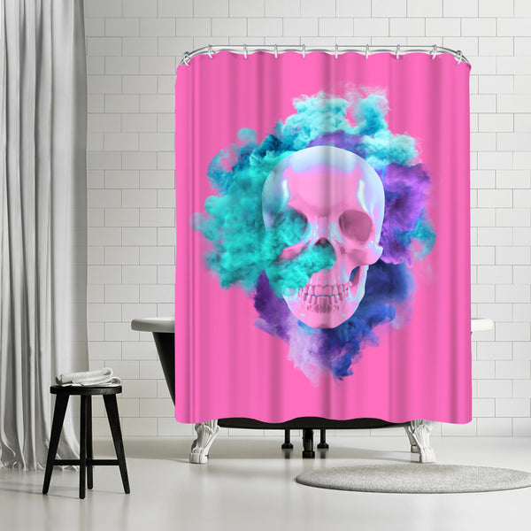 Pink Skull by Emanuela Carratoni Shower Curtain