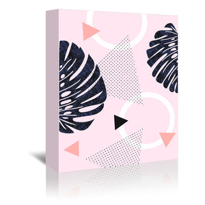 Shiny Monsteras On Pink by Emanuela Carratoni Wrapped Canvas