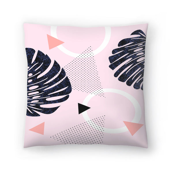 Shiny Monsteras On Pink by Emanuela Carratoni Decorative Pillow