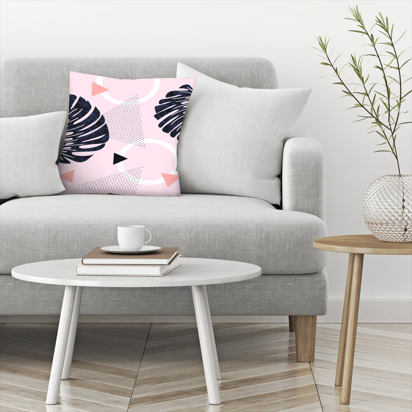Shiny Monsteras On Pink by Emanuela Carratoni Decorative Pillow - Decorative Pillow - Americanflat