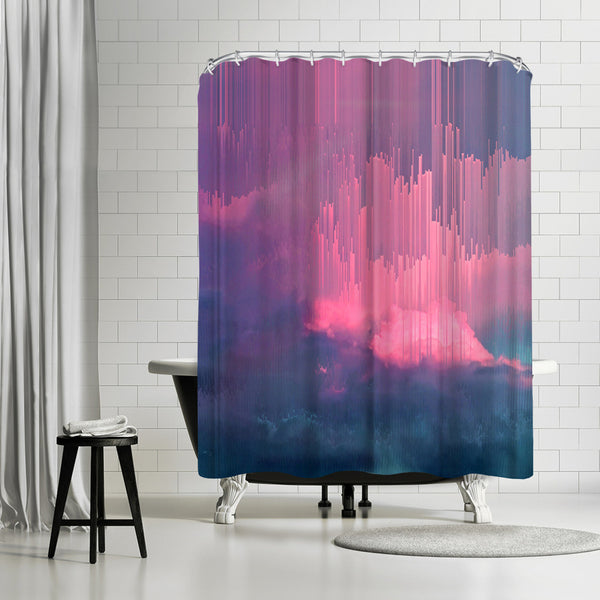 Stormy Glitches by Emanuela Carratoni Shower Curtain