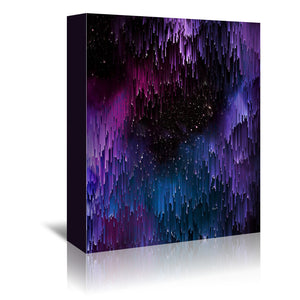 Ultraviolet Glitch Galaxy by Emanuela Carratoni Wrapped Canvas