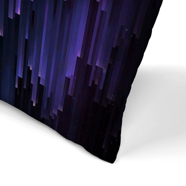 Ultraviolet Glitch Galaxy by Emanuela Carratoni Decorative Pillow