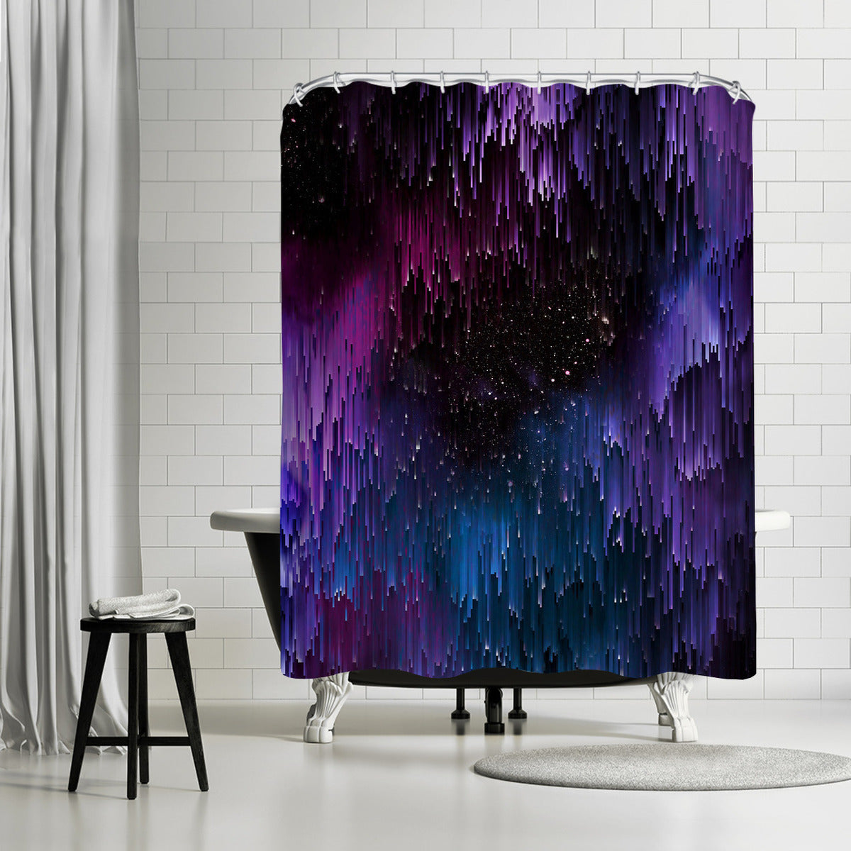 Ultraviolet Glitch Galaxy by Emanuela Carratoni Shower Curtain - Shower Curtain - Americanflat