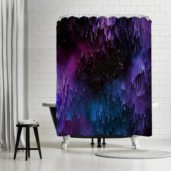 Ultraviolet Glitch Galaxy by Emanuela Carratoni Shower Curtain