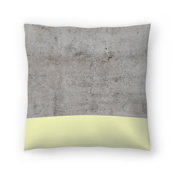 Yellow On Concrete by Emanuela Carratoni Decorative Pillow