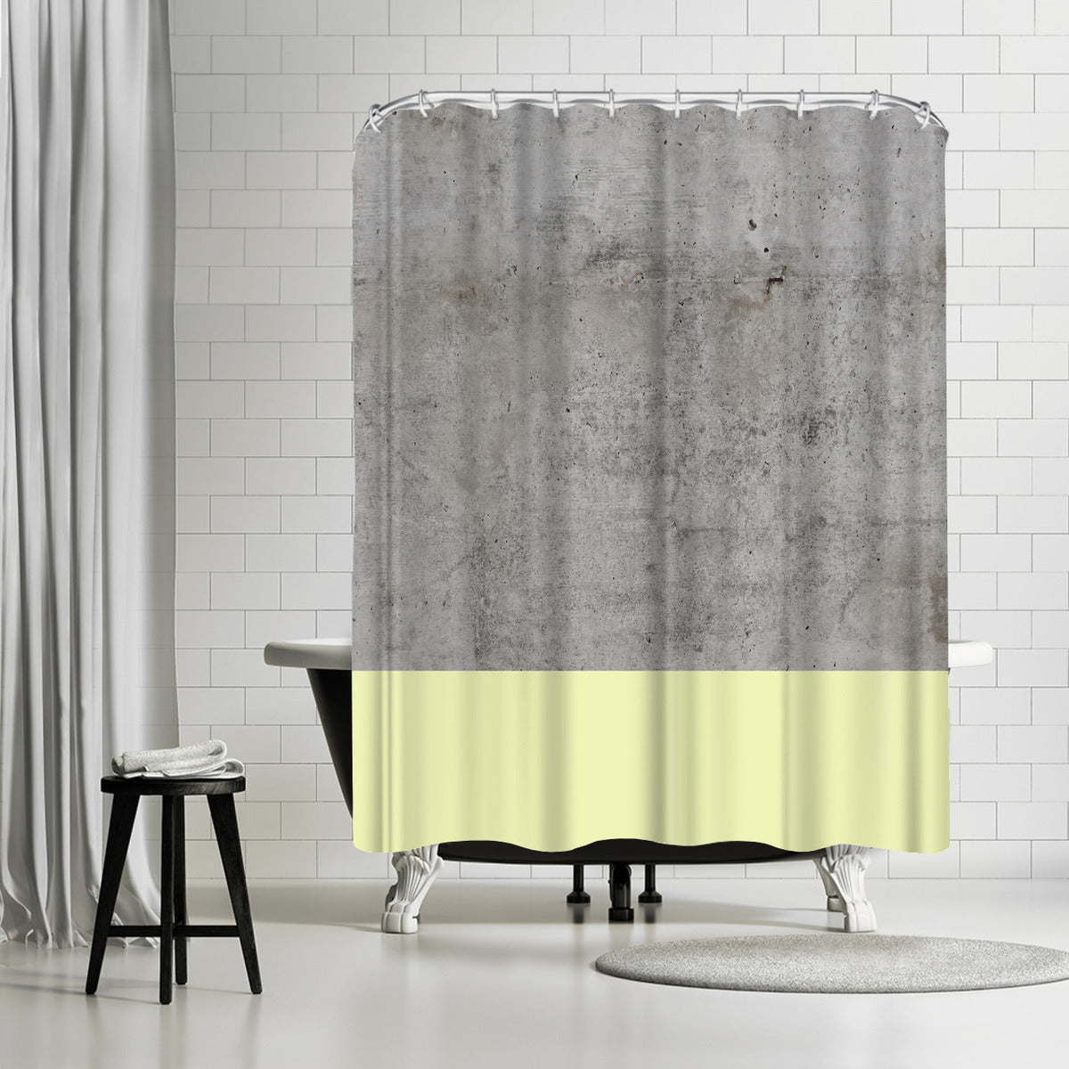 Yellow On Concrete by Emanuela Carratoni Shower Curtain