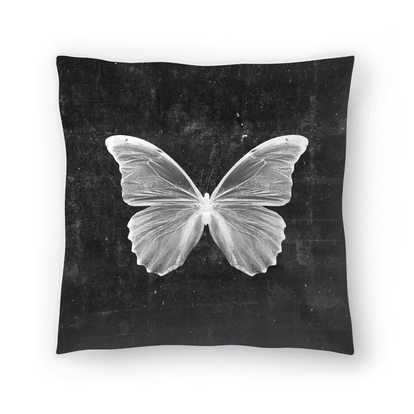 Butterfly In Black by Emanuela Carratoni Decorative Pillow