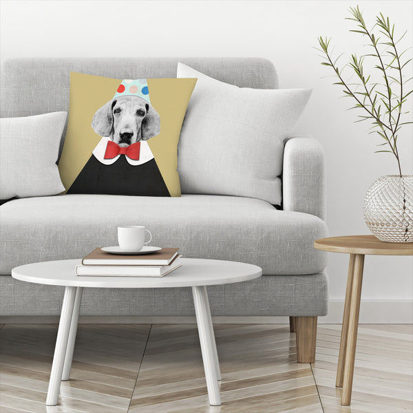 Doggy Pooh The Clown by Emanuela Carratoni Decorative Pillow