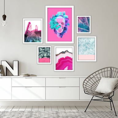 Pink & Cyan Mixed-Media Modern Framed Art Set - Framed Print - Americanflat