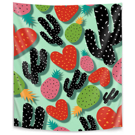 Cactus Love & Pineapples by Susana Paz Tapestry