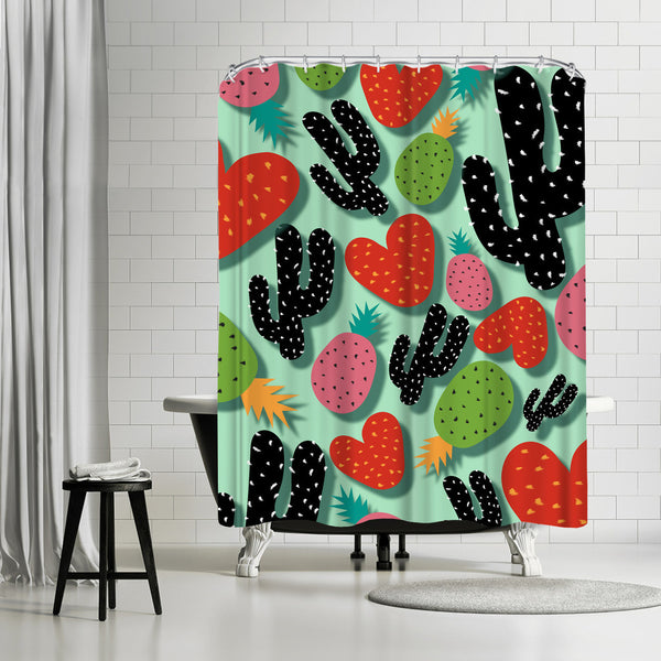 Cactus Love & Pineapples by Susana Paz Shower Curtain