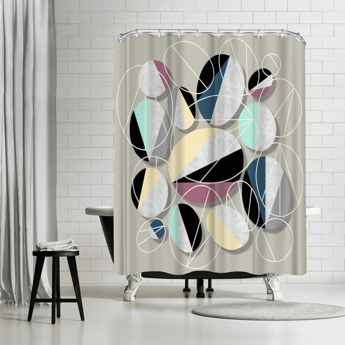 Stones And Outlines by Susana Paz Shower Curtain -  - Americanflat