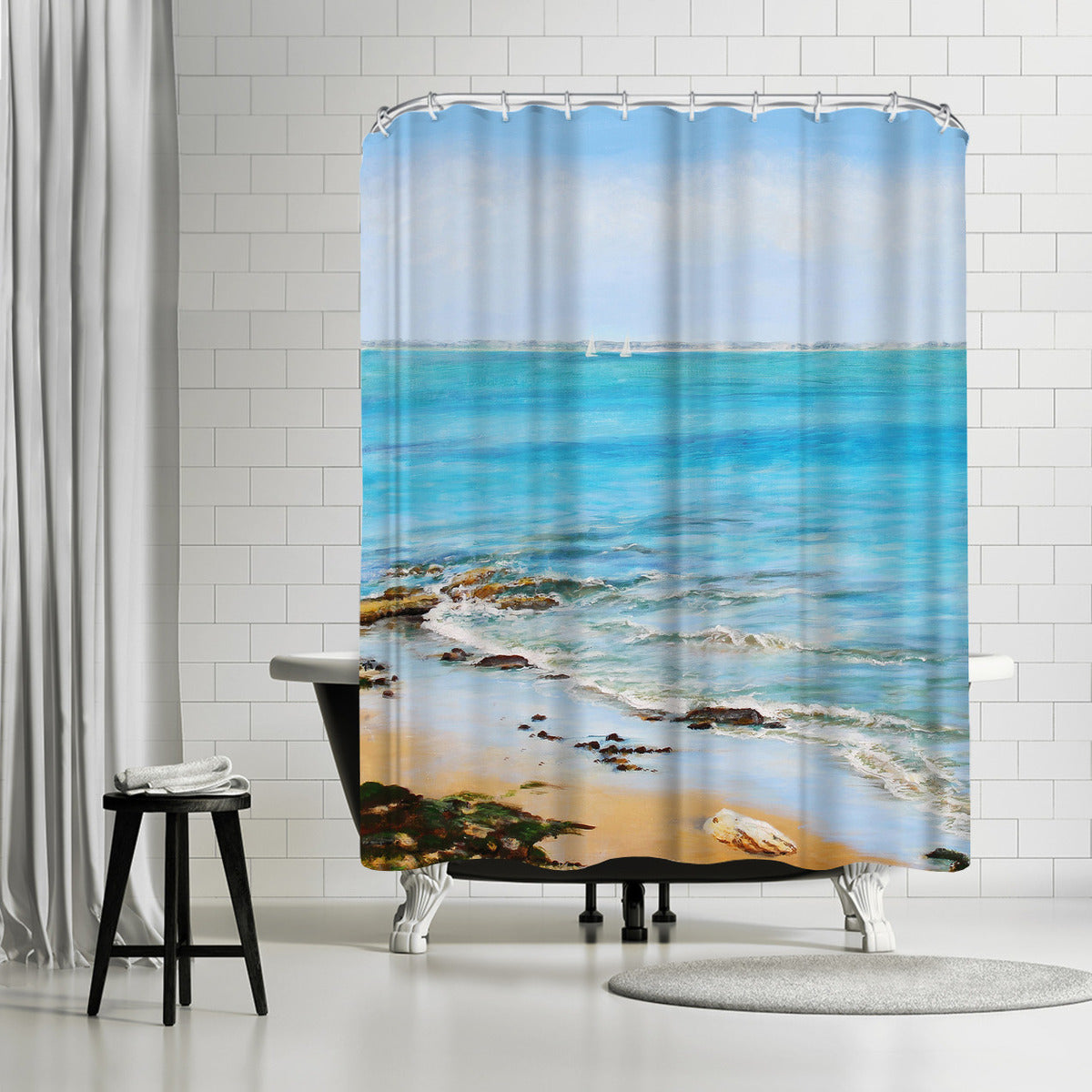 Distant Sails by Sandra Francis Shower Curtain -  - Americanflat