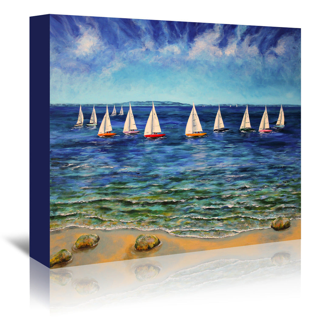 Sails Near And Far by Sandra Francis Wrapped Canvas - Wrapped Canvas - Americanflat