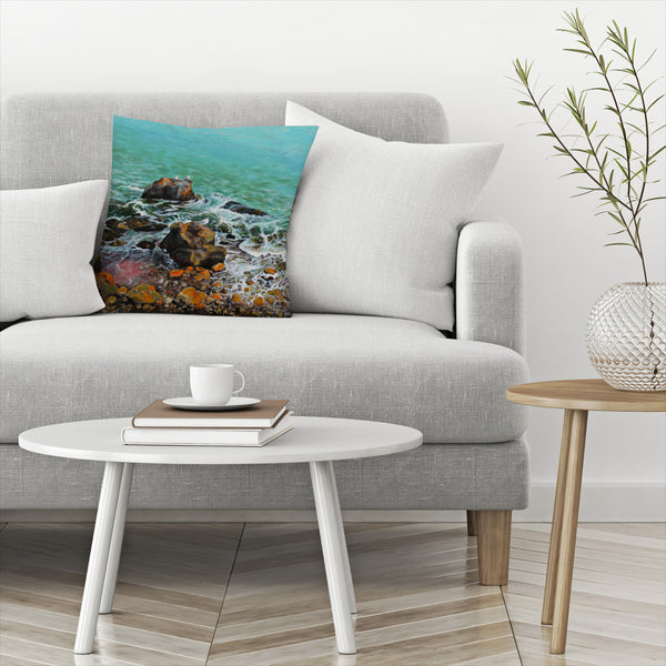 Seagulls On The Rocks by Sandra Francis Decorative Pillow