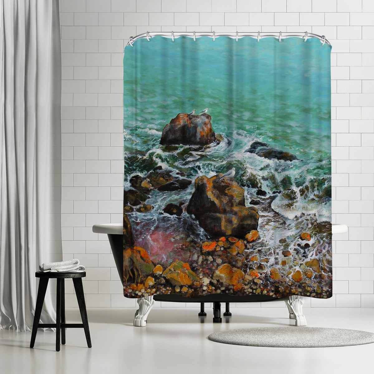 Seagulls On The Rocks by Sandra Francis Shower Curtain - Shower Curtain - Americanflat