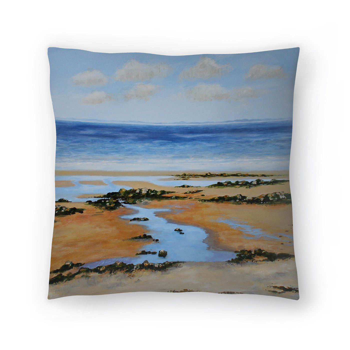 Seaweed On Rocks by Sandra Francis Decorative Pillow - Decorative Pillow - Americanflat