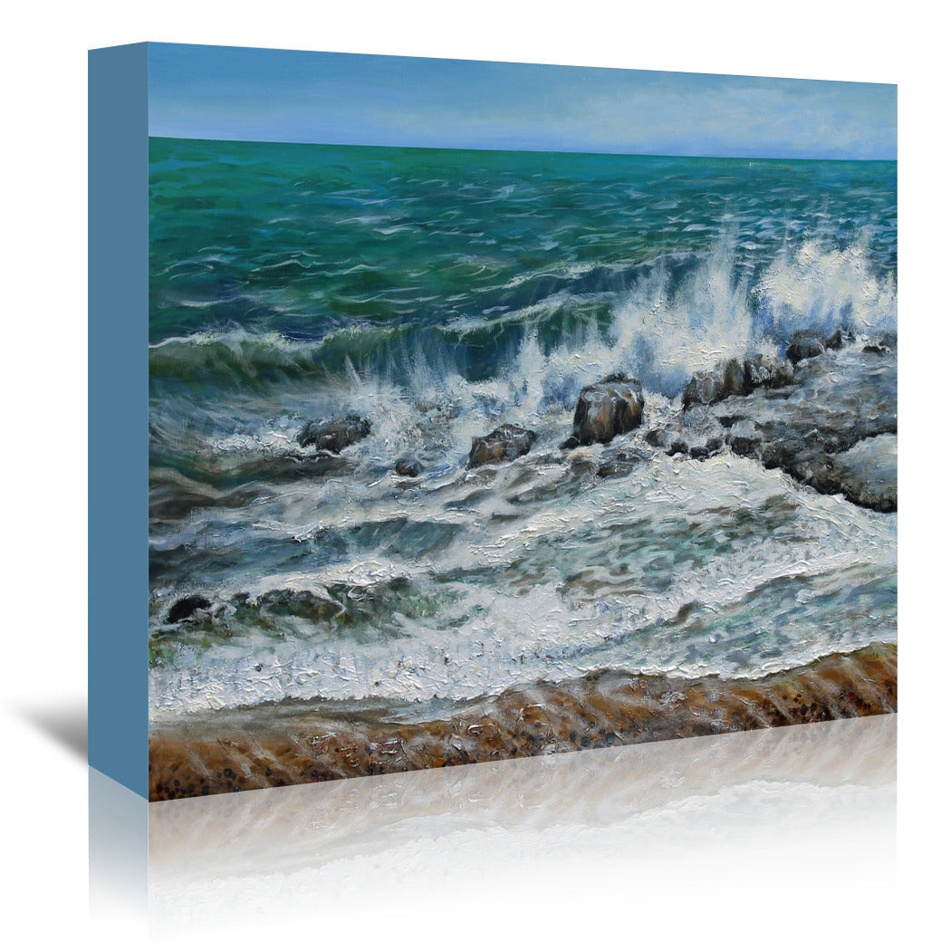 Waves On The Rocks by Sandra Francis Wrapped Canvas - Wrapped Canvas - Americanflat
