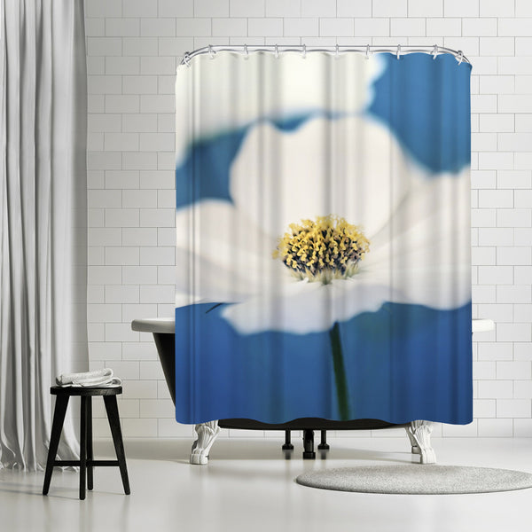 White Cosmos In Blue by Mirja Paljakka Shower Curtain