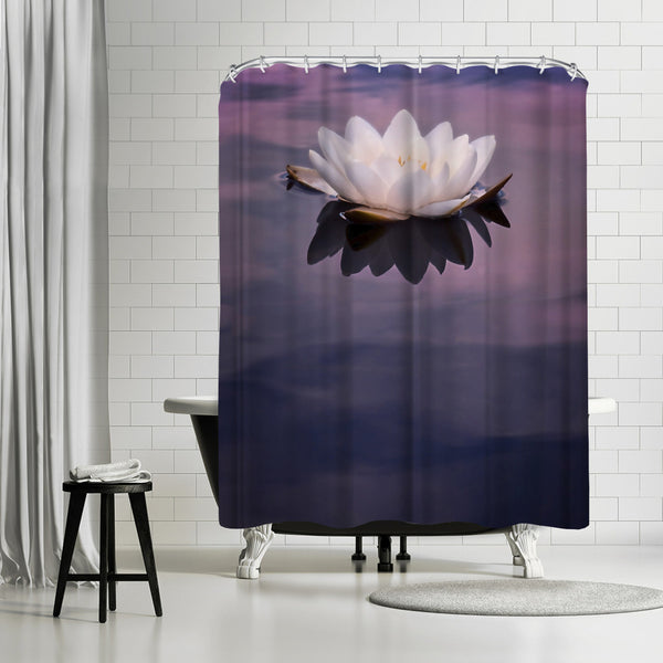 Water Lily On Dark Water by Mirja Paljakka Shower Curtain
