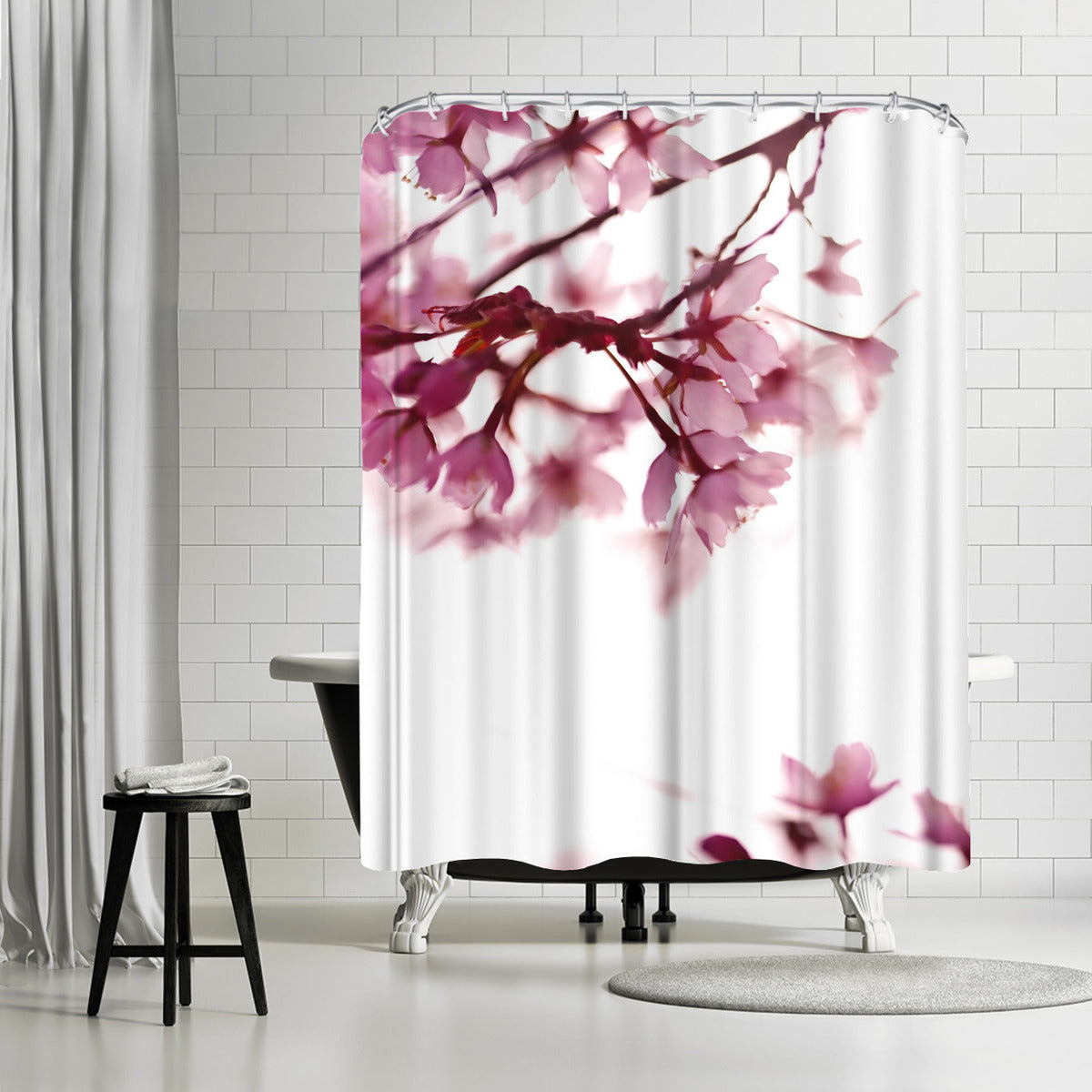 Pink Blossoms In Wind by Mirja Paljakka Shower Curtain -  - Americanflat