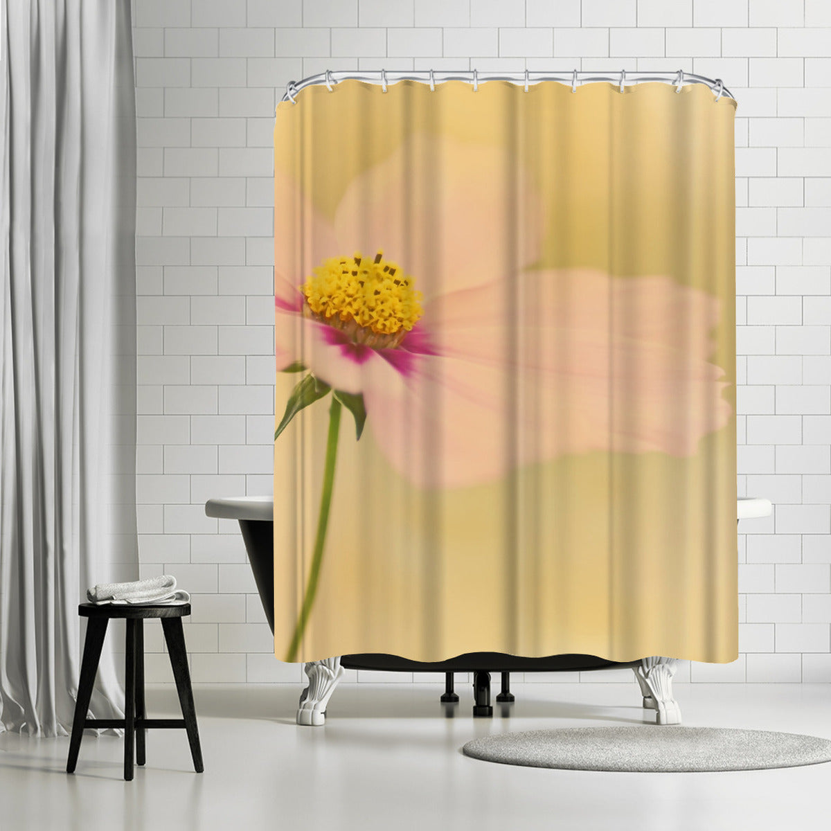 Cosmos Flower Sunset by Mirja Paljakka Shower Curtain