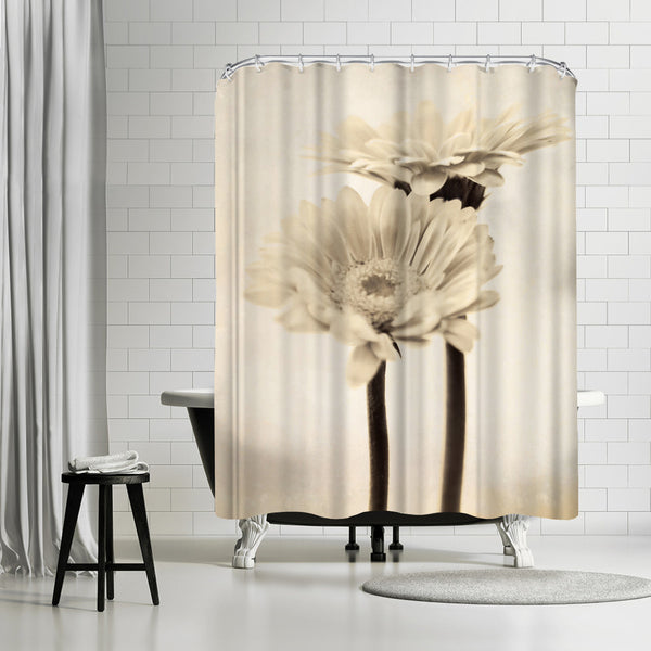 Two Gerberas by Mirja Paljakka Shower Curtain