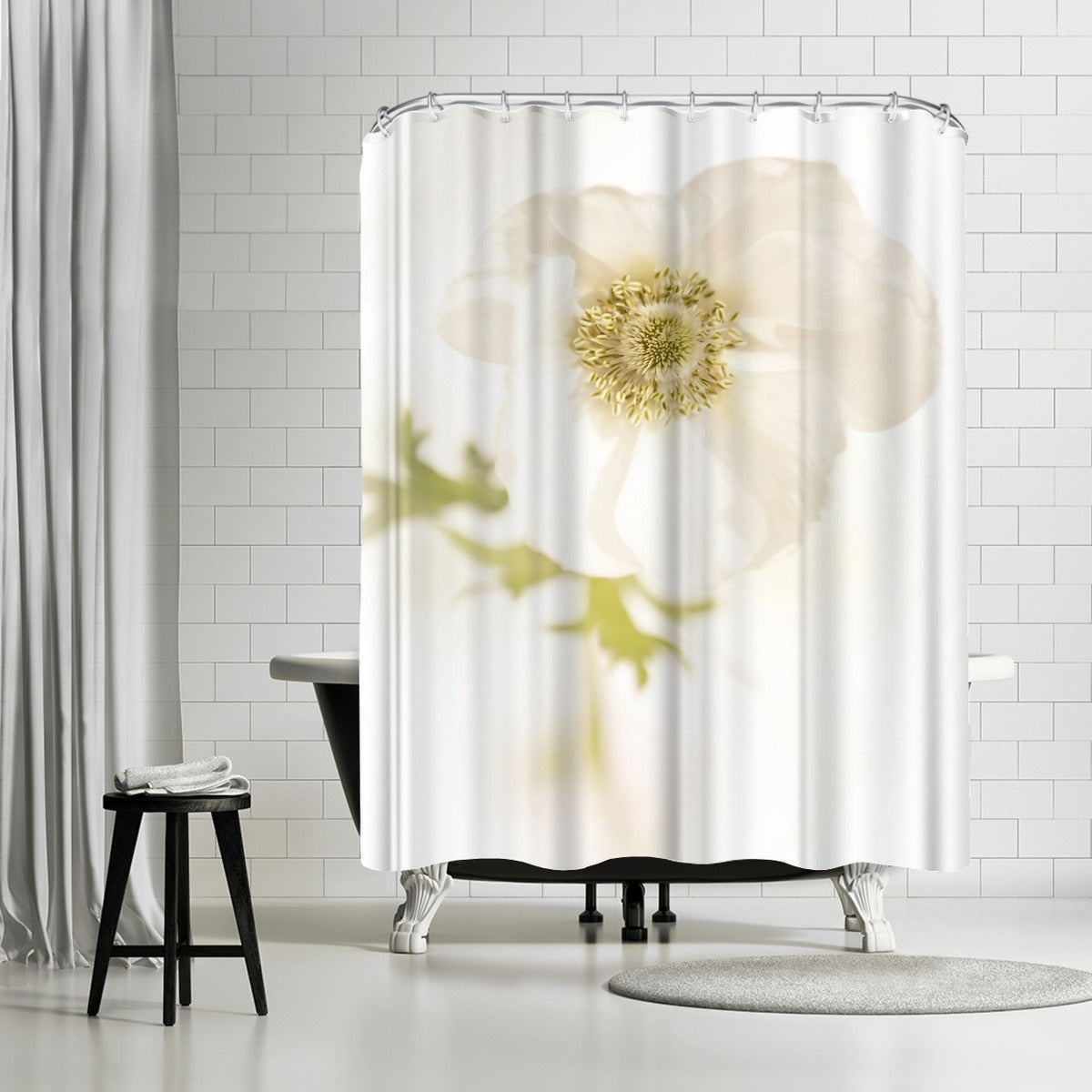 White Delicate Flower by Mirja Paljakka Shower Curtain - Shower Curtain - Americanflat