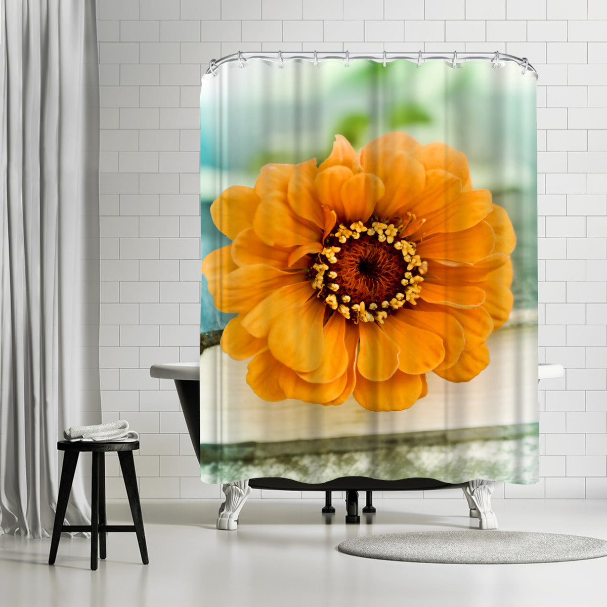 Orange Zinnia On Book by Mirja Paljakka Shower Curtain -  - Americanflat