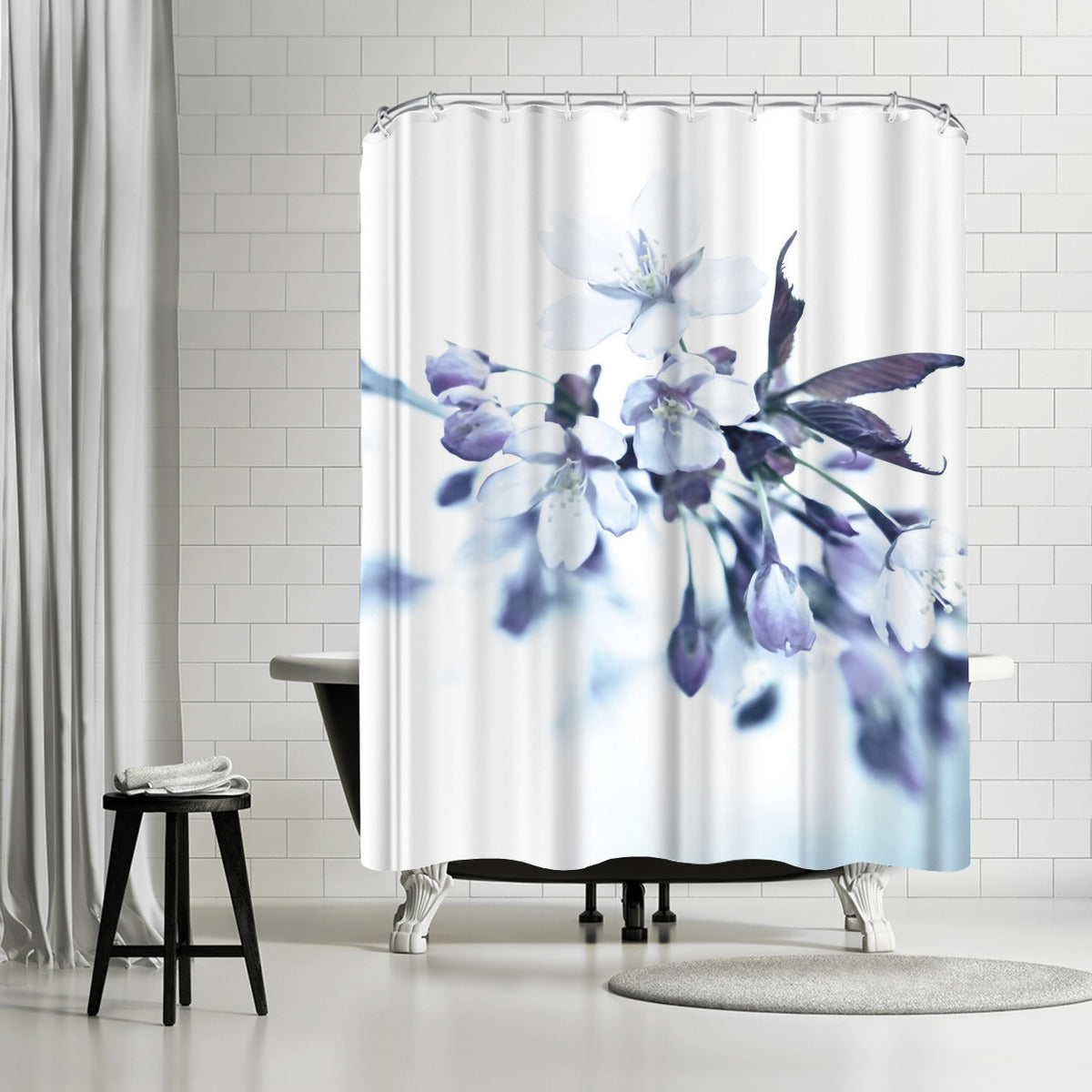 Cherry Blossom Dusted Blue By Mirja Paljakka Shower Curtain Americanflat