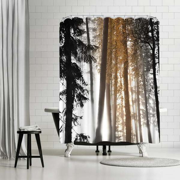 Tree Trunks Autumn Vertical by Mirja Paljakka Shower Curtain